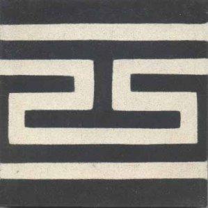 f.  grega fundo preto desenho branco